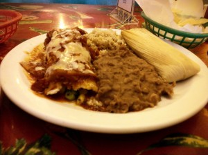 poblano enchilada, non-refried beans, spanish rice, black bean and goat cheese tamale