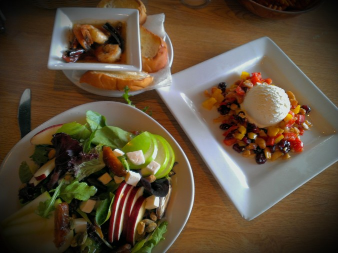 Spicy Garlic Shrimp Tapas, Goat Cheese (a heaping serving of it) with fruit and cashews, and the Moroccan Salad